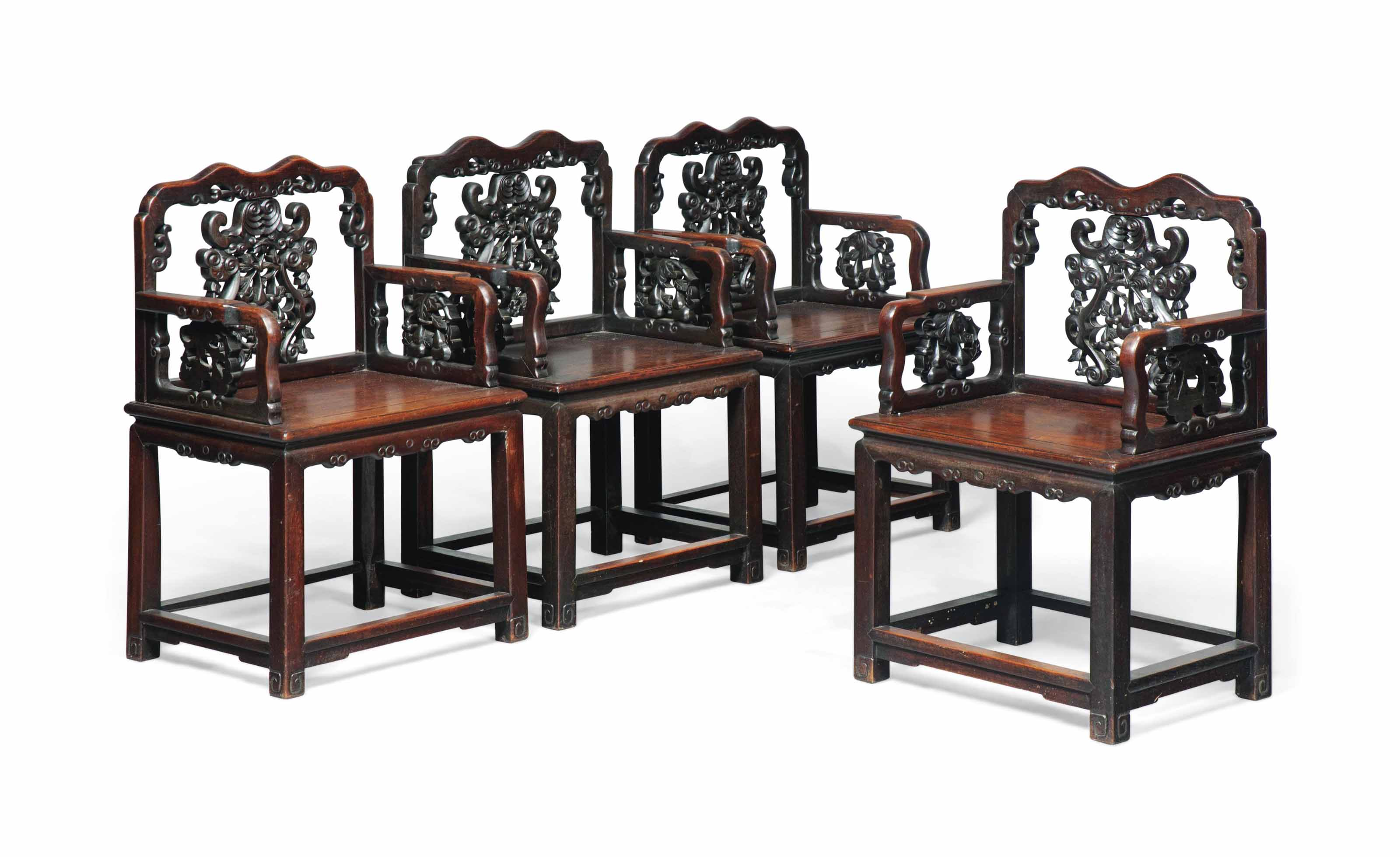 A SET OF FOUR CHINESE HONGMU A