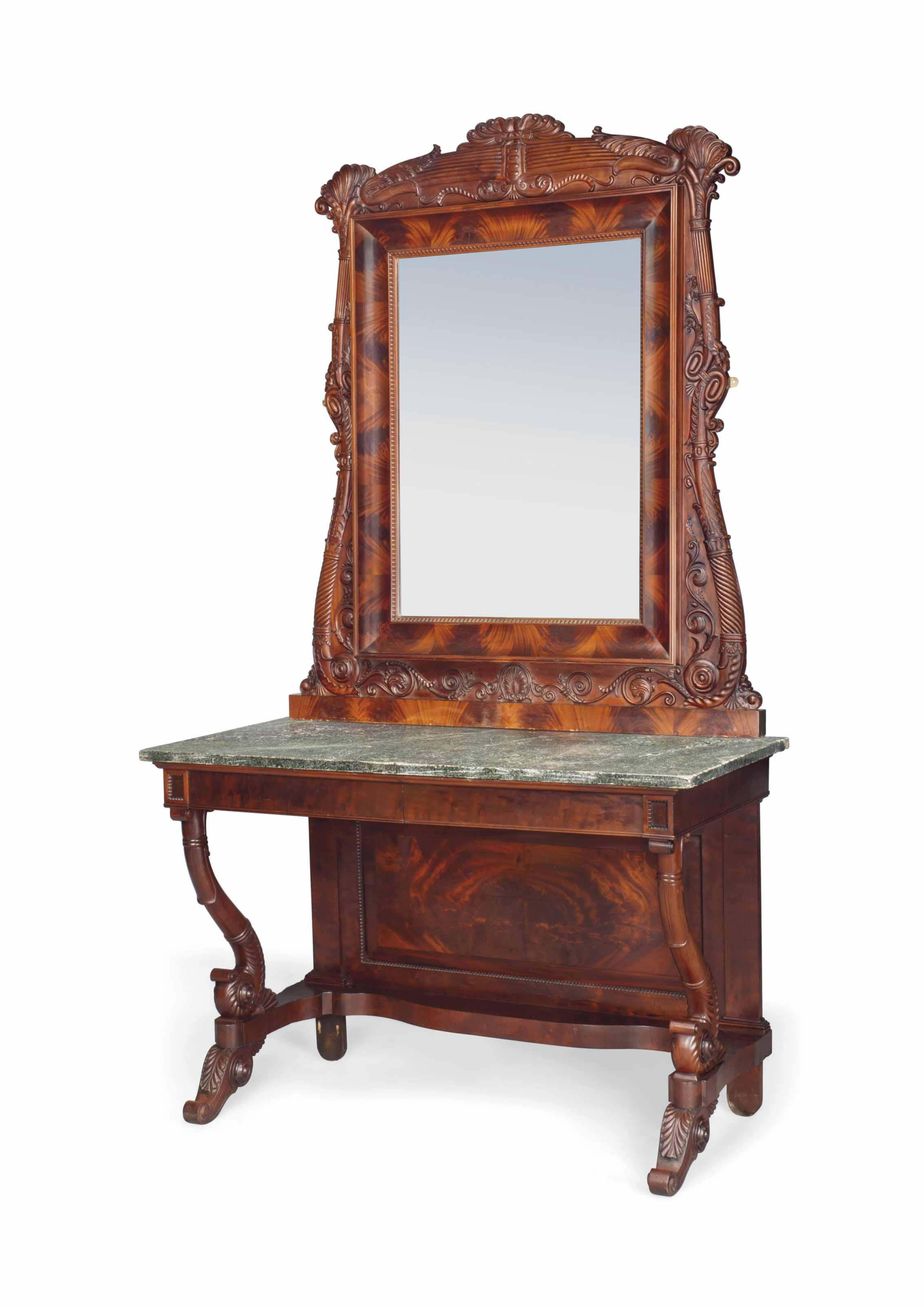 A NORTH ITALIAN MAHOGANY CONSOLE TABLE AND ENSUITE MIRROR