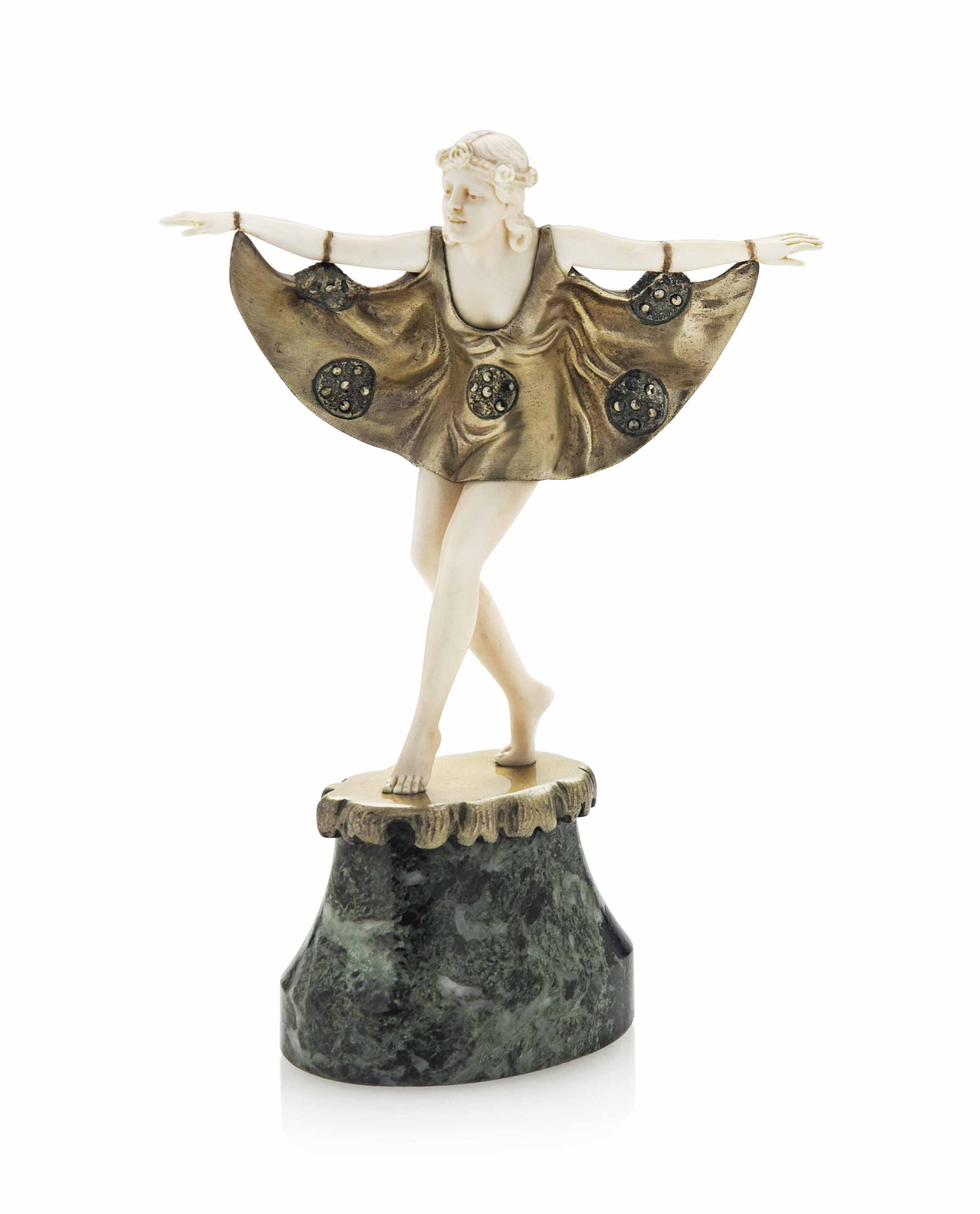 A  COLD-PAINTED BRONZE, IVORY AND MARCASITE FIGURE ATTRIBUTED TO PROFESSOR OTTO POERTZEL