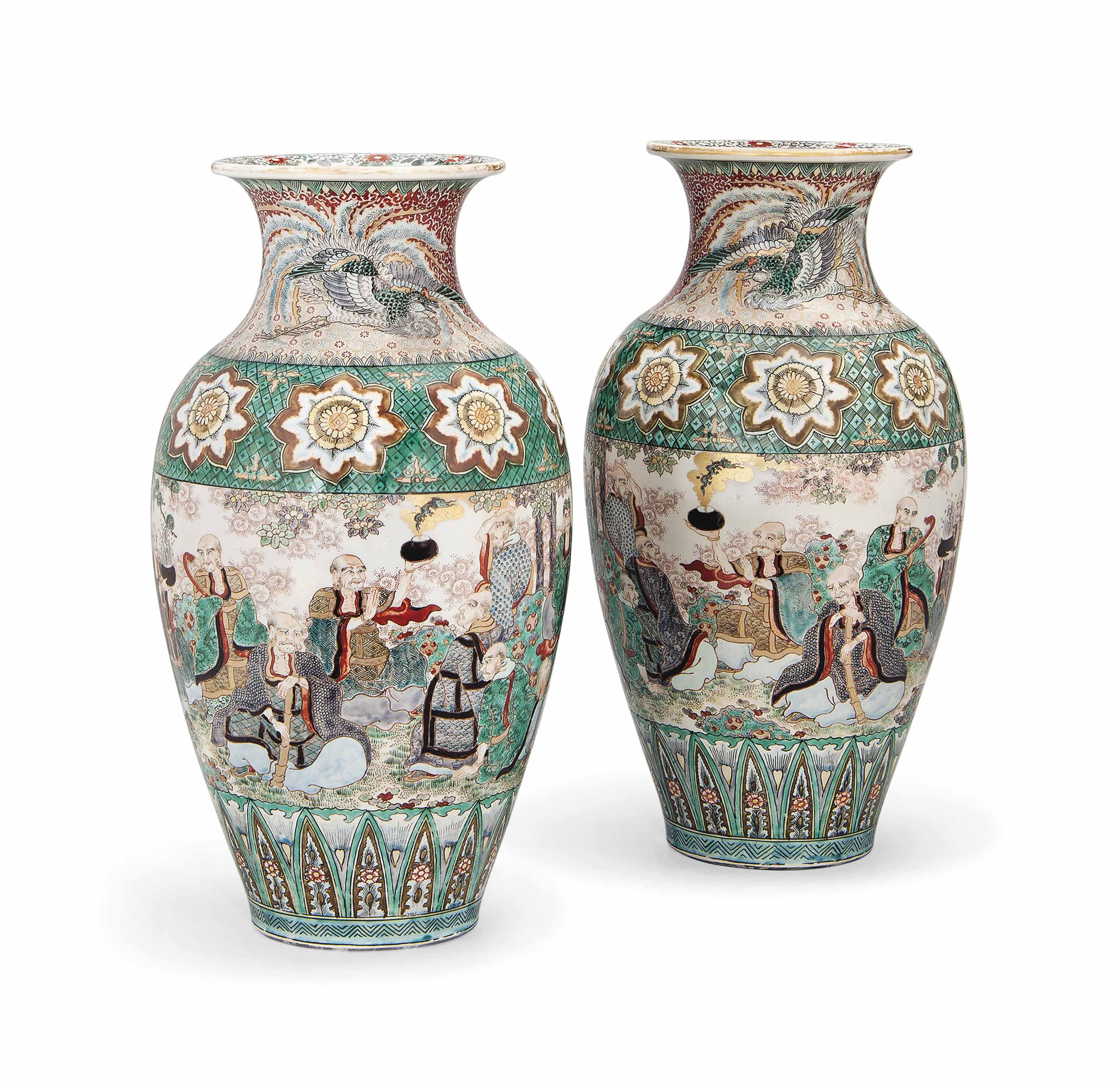 A Pair of Japanese Kutani Vases