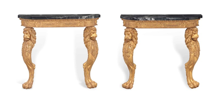 A PAIR OF GILTWOOD CONSOLE TAB