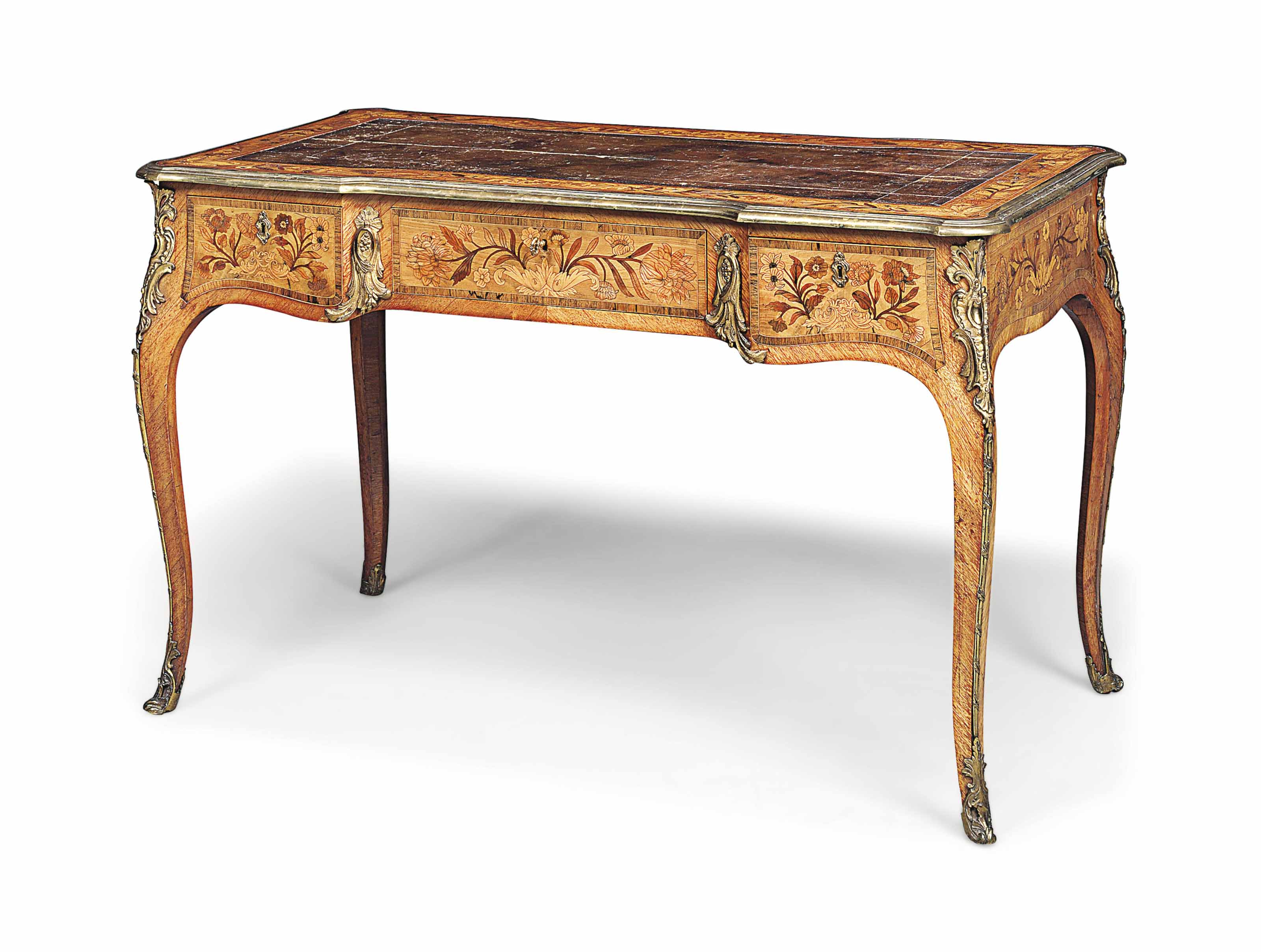 A WILLIAM IV ORMOLU-MOUNTED KINGWOOD, ROSEWOOD, WALNUT AND MARQUETRY WRITING TABLE
