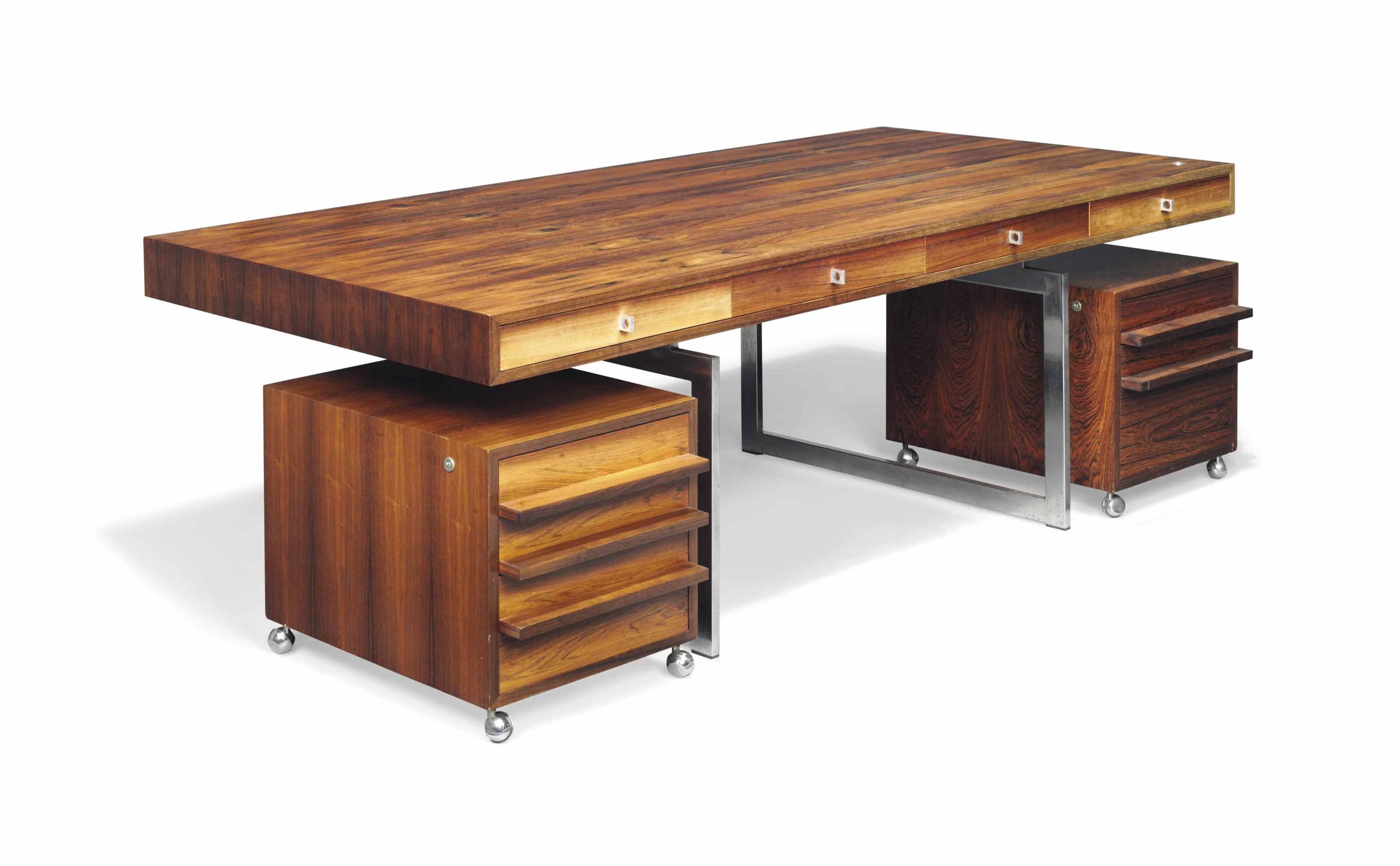 A BODIL KJAER (B. 1932) BRAZILIAN ROSEWOOD DESK AND TWO CHEST OF DRAWERS