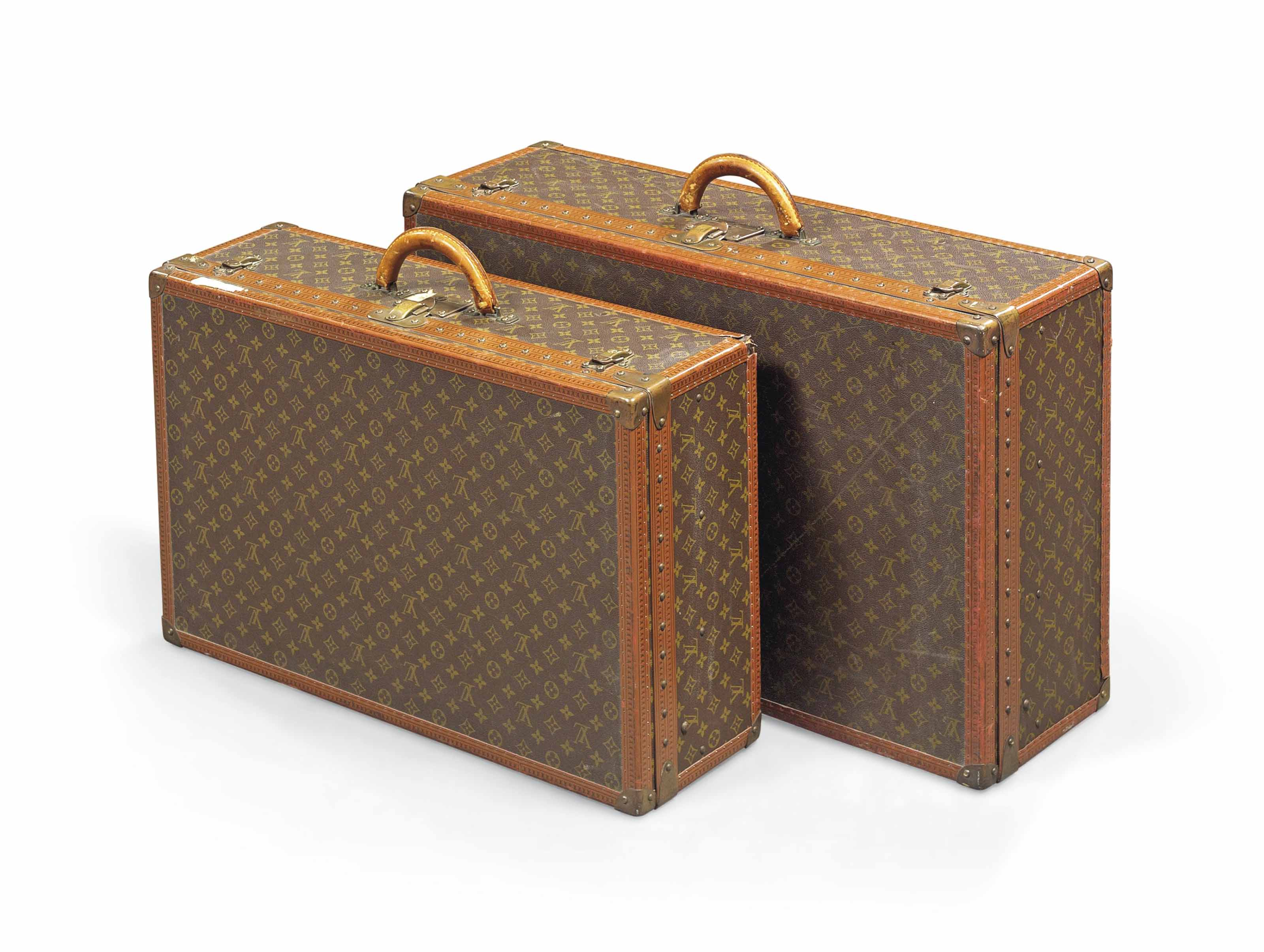 A PAIR OF SUITCASES IN  MONOGR