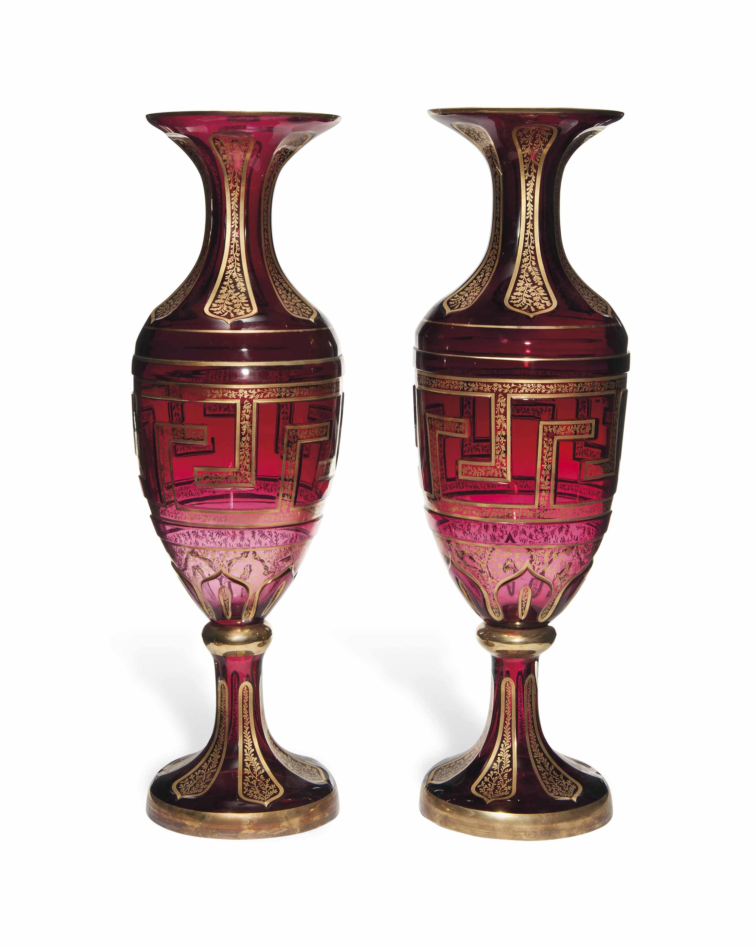A LARGE PAIR OF RUBY CUT-GLASS