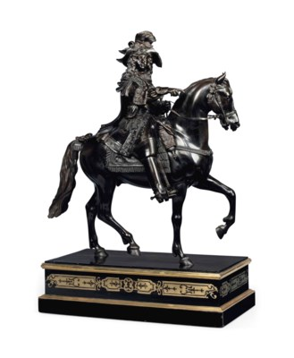 A FRENCH EQUESTRIAN BRONZE MOD