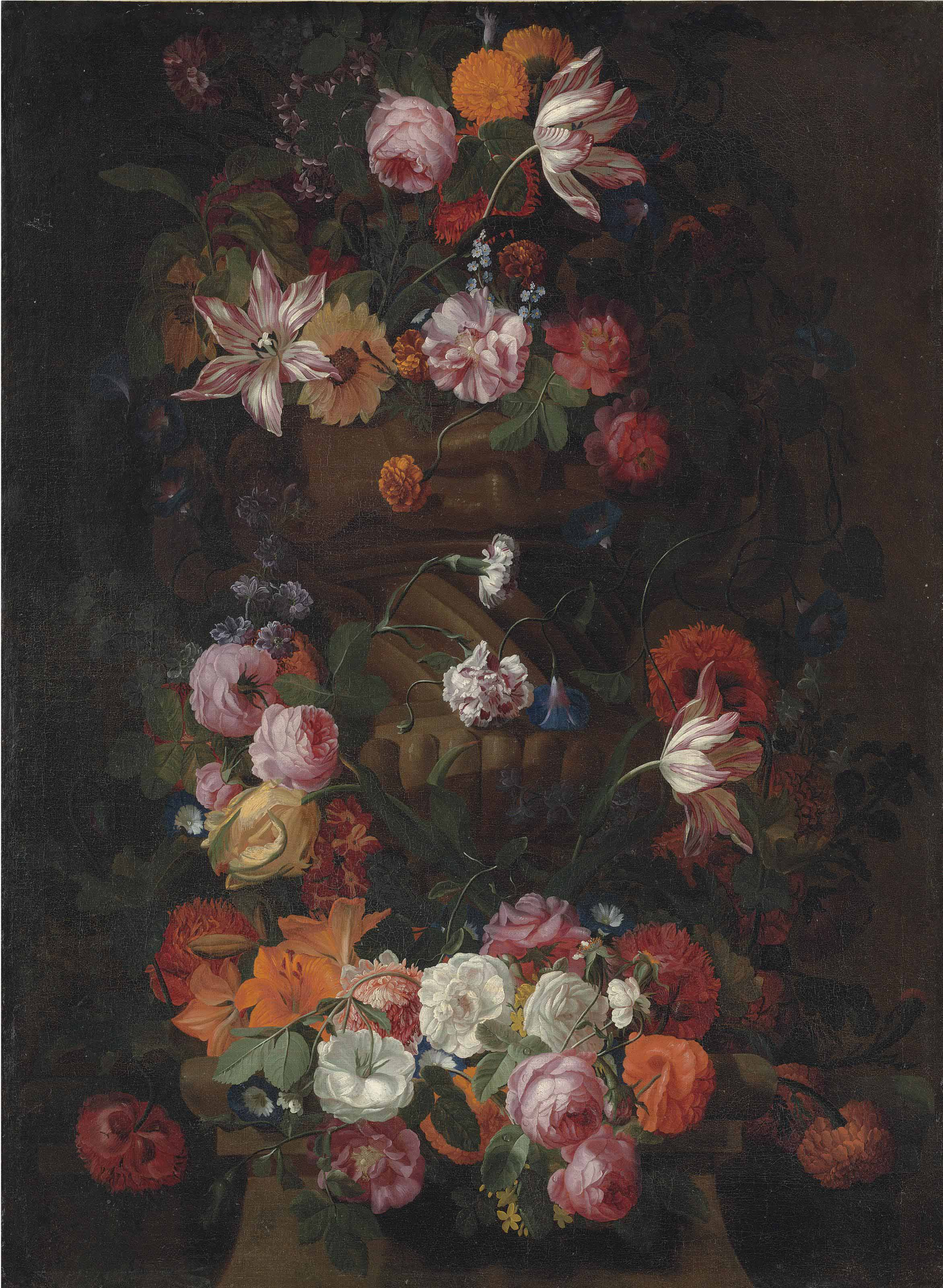 Parrot tulips, roses, a sunflower and other flowers in a sculpted urn, with a garland of roses, lilies, morning glory and other flowers around a column