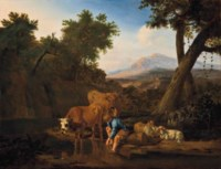 A wooded river landscape with cattle watering and a shepherd resting, mountains beyond