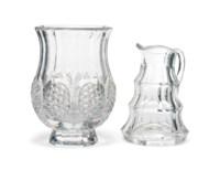 A VAL SAINT LAMBERT CUT-GLASS VASE AND A MOSER CUT-GLASS JUG