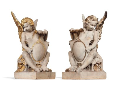 A PAIR OF ENGLISH CARVED MARBL