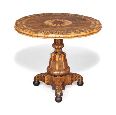A PARQUETRY CENTRE TABLE