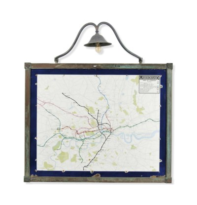 A PRINTED ENAMEL MAP OF LONDON