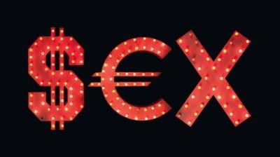 A LARGE MDF 'SEX' SHOP SIGN