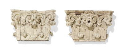 A PAIR OF WHITE PAINTED WOOD C