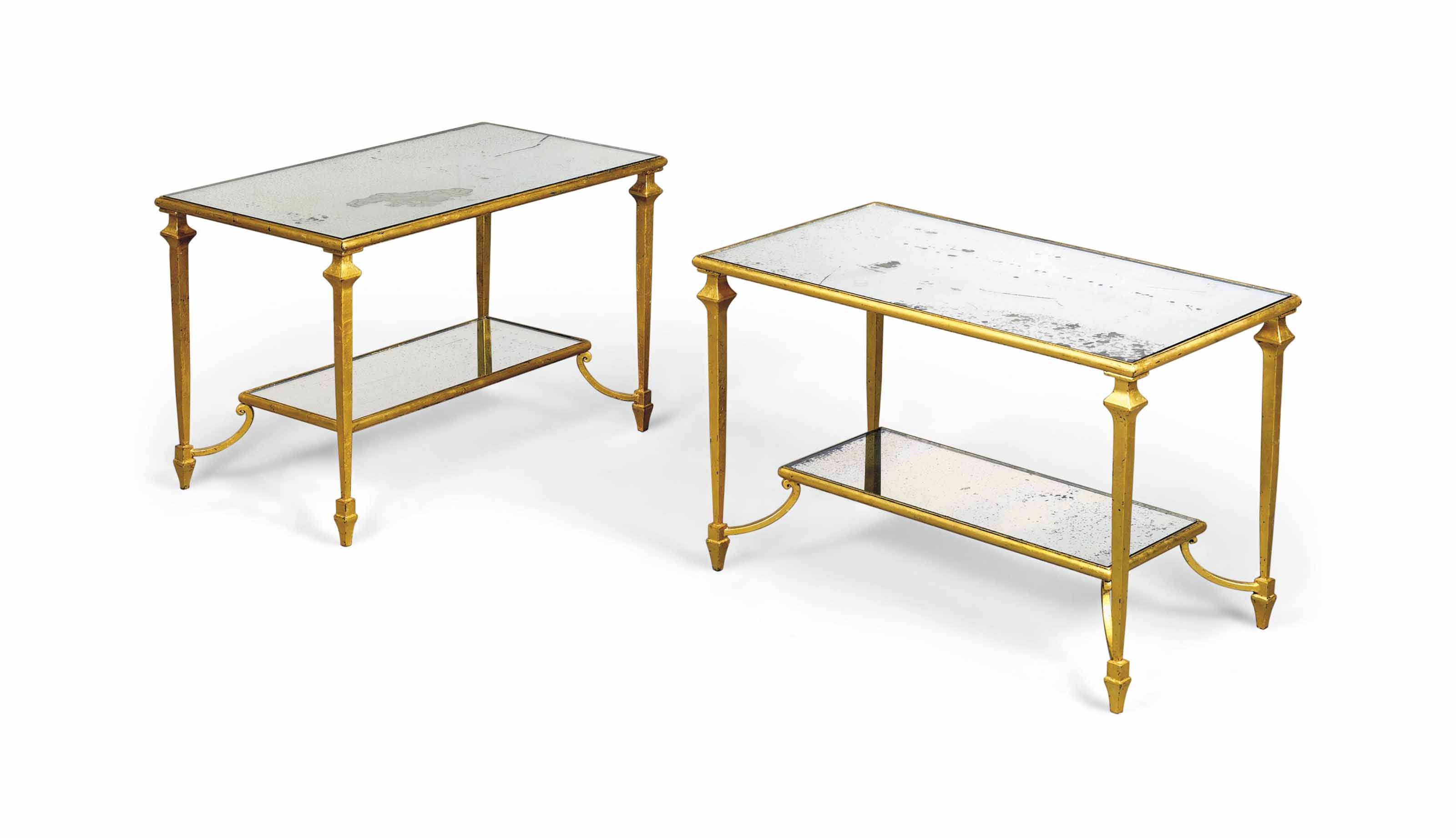 A PAIR OF GILT-METAL OCCASIONAL TABLES