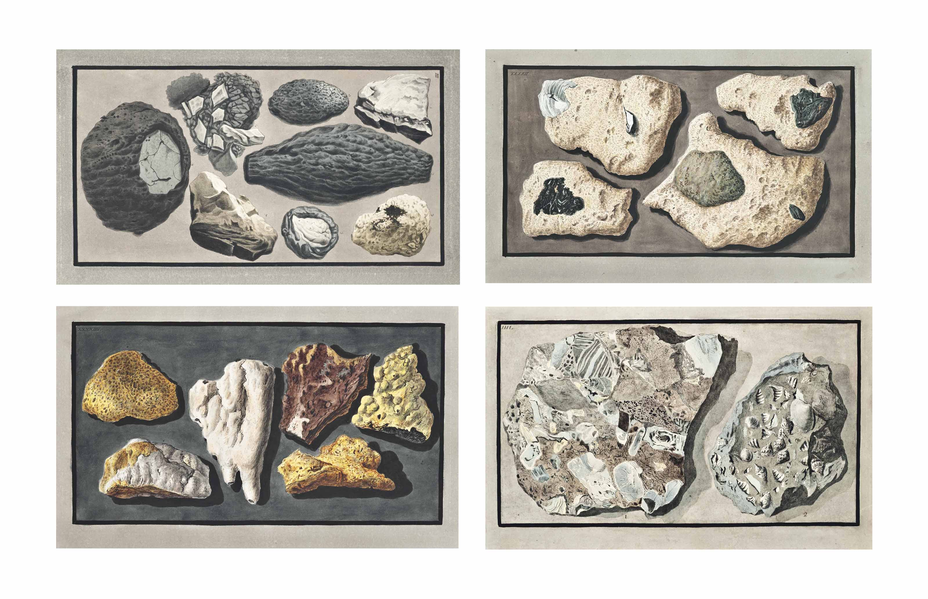 FOUR ITALIAN HAND-COLOURED ENGRAVINGS OF VOLCANIC AND GEOLOGICAL SPECIMENS