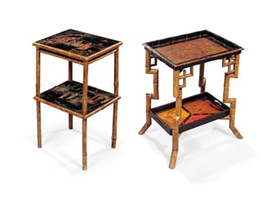 TWO BAMBOO OCCASIONAL TABLES