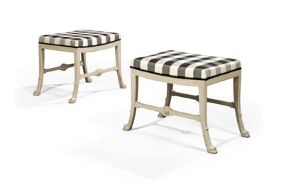 A PAIR OF SWEDISH GREY-PAINTED