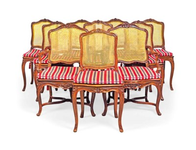 A SET OF TEN STAINED BEECHWOOD