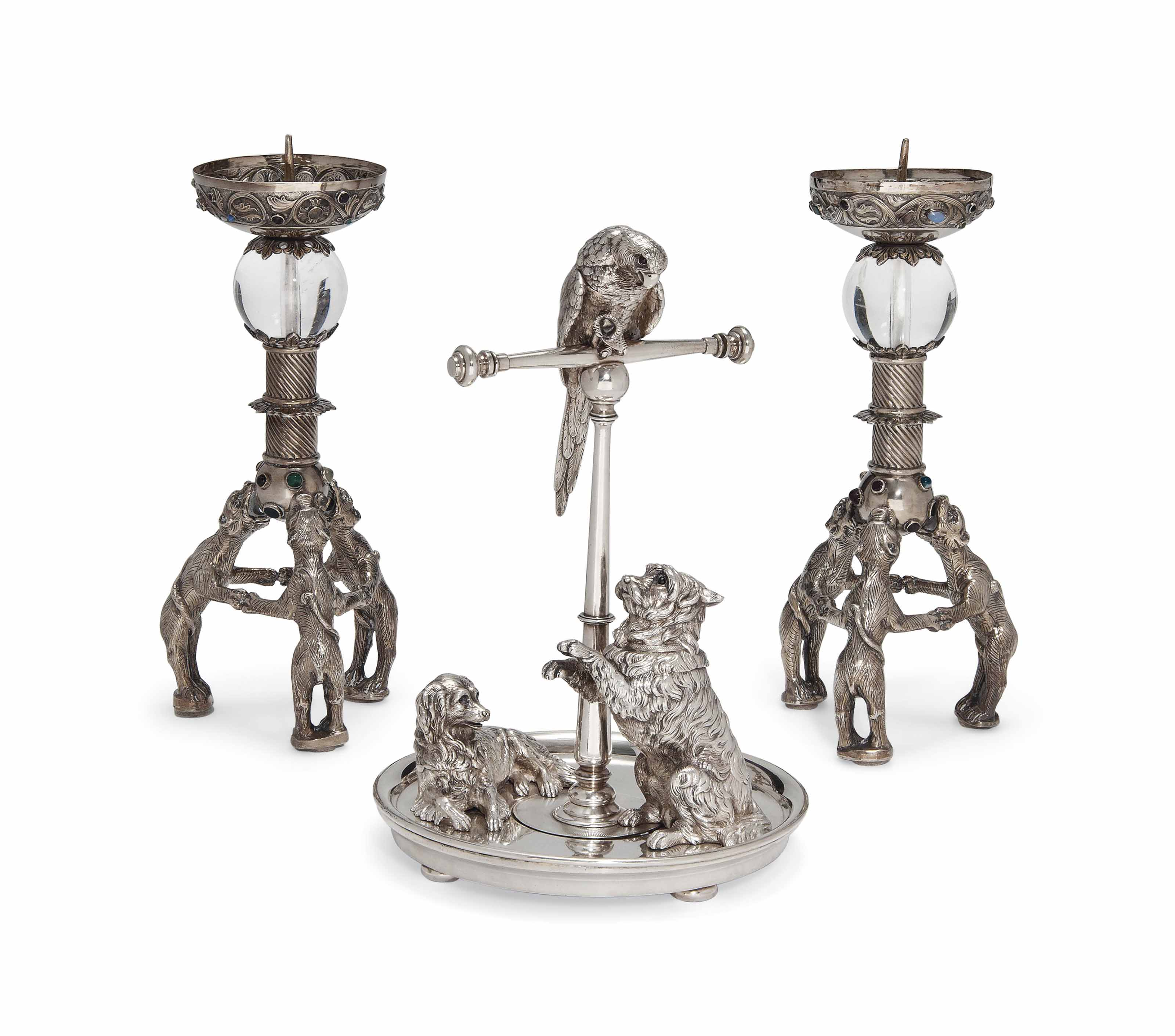 A PAIR OF GERMAN SILVER HISTORISMUS PRICKET CANDLESTICKS