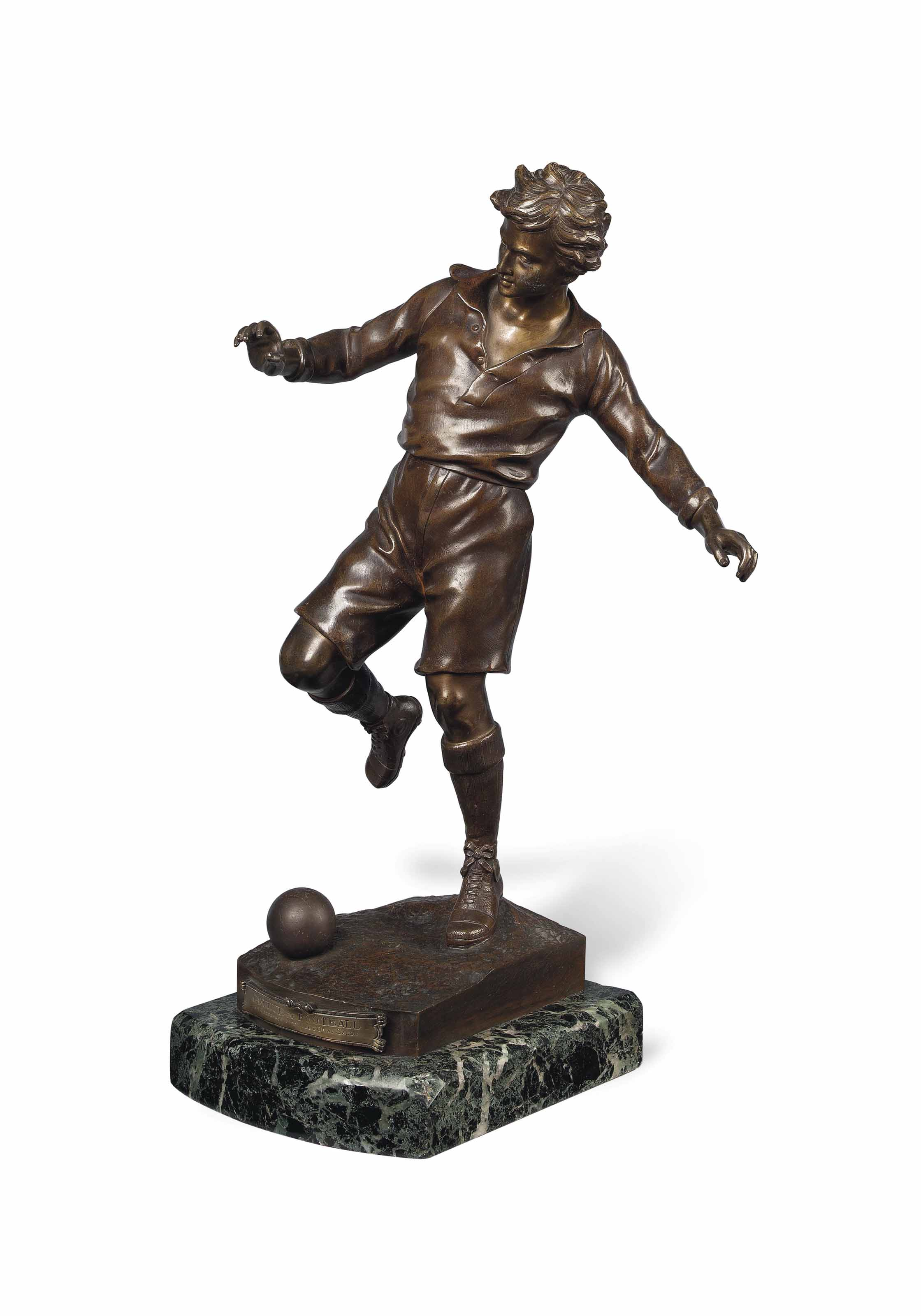 A FRENCH BRONZE FIGURE OF A FOOTBALL PLAYER