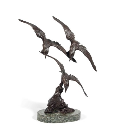 A FRENCH BRONZE GROUP OF BIRDS
