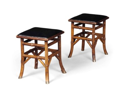 A PAIR OF VICTORIAN BAMBOO STO