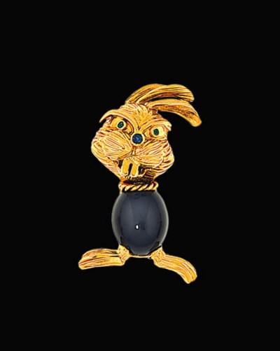 A gem-set novelty brooch, by K