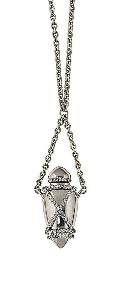 """An 18ct white gold diamond-set """"Ampoule"""" pendant, by Theo Fennell"""