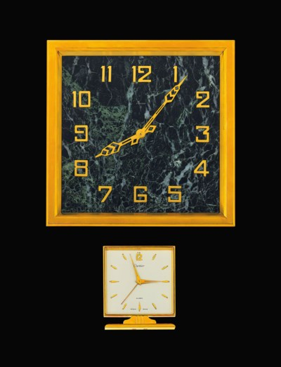 Two gilt desk clocks, by Carti
