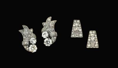 Two pairs of diamond earrings