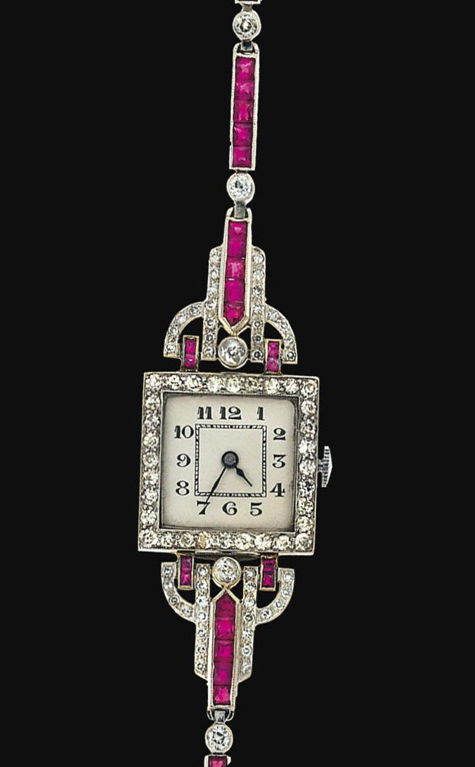 An Art Deco platinum, diamond and ruby dress watch