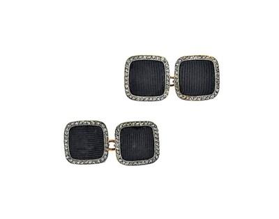 A pair of Art Deco diamond cuf