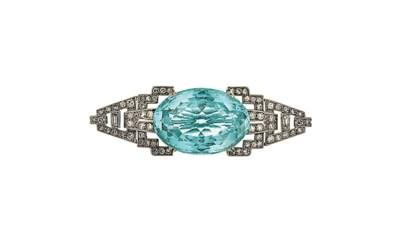 An Art Deco aquamarine and dia