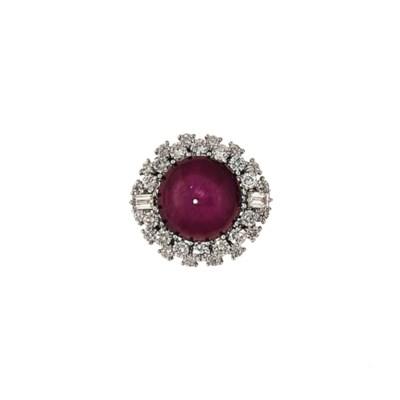 A star ruby and diamond cluste