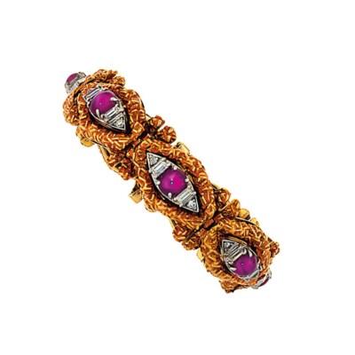 A star ruby and diamond bracel