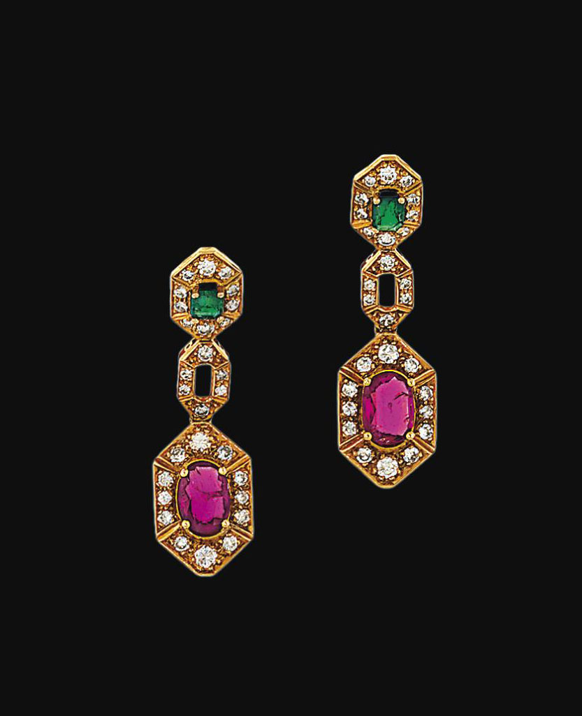 A pair of ruby, emerald and diamond earrings