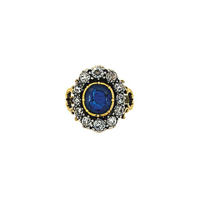 A mid 19th century sapphire and diamond cluster ring