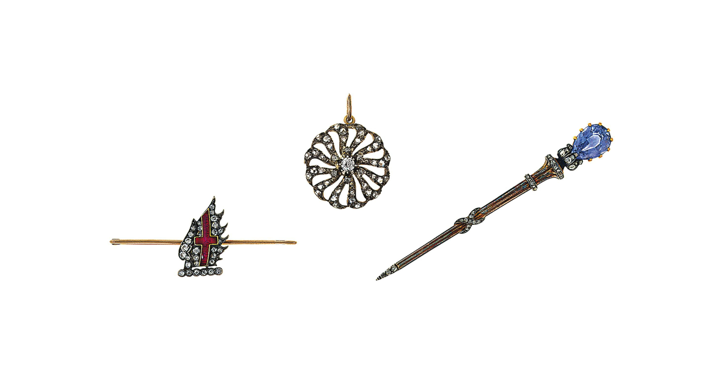 A late 19th century sapphire and diamond pin, by Koch and two diamond brooches