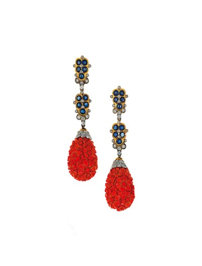 A pair of coral, sapphire and