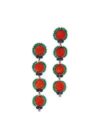A pair of coral, emerald, sapp