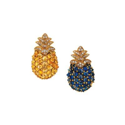 A pair of diamond, sapphire an