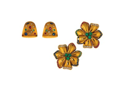 A pair of gem-set earclips, by