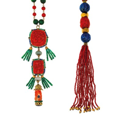 Two coral and gem sautoir neck