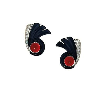 A pair of cornelian, onyx and