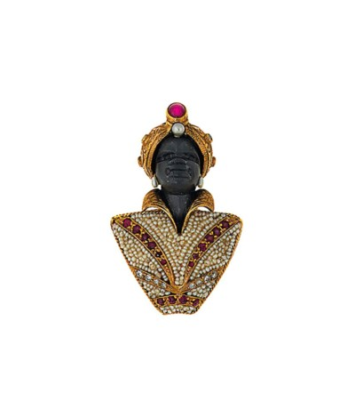 An gem-set 'Blackamoor' brooch