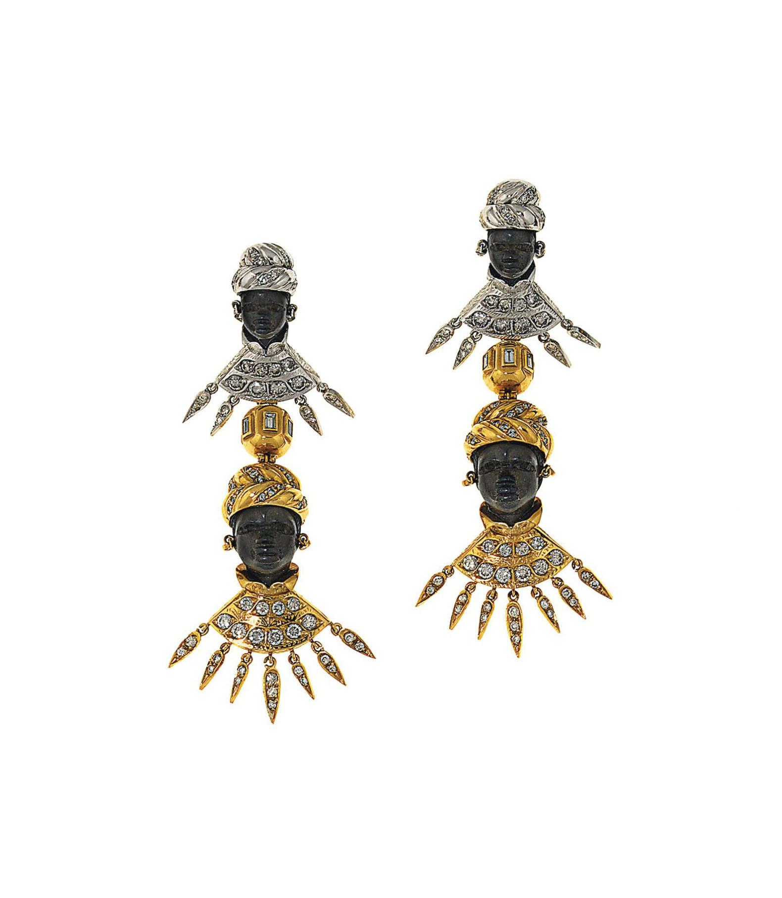 A pair of ebony and diamond-set 'Blackamoor' earrings, by Codognato