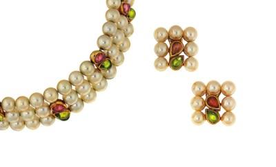 A cultured pearl and gem-set c
