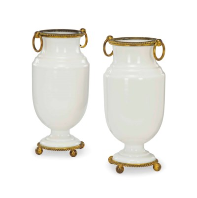A PAIR OF FRENCH OPAQUE GLASS