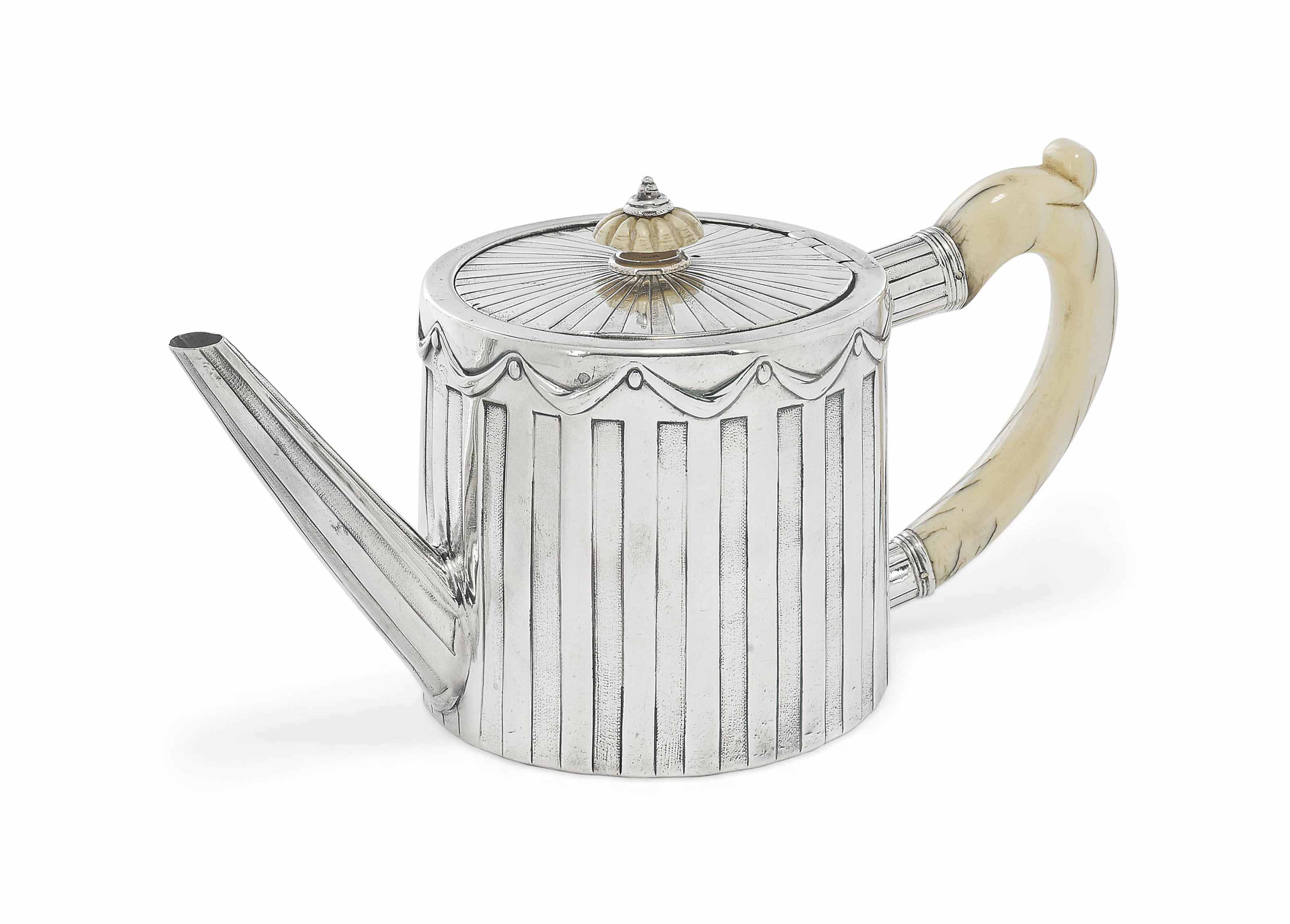 A GEORGE III SILVER DRUM TEAPO